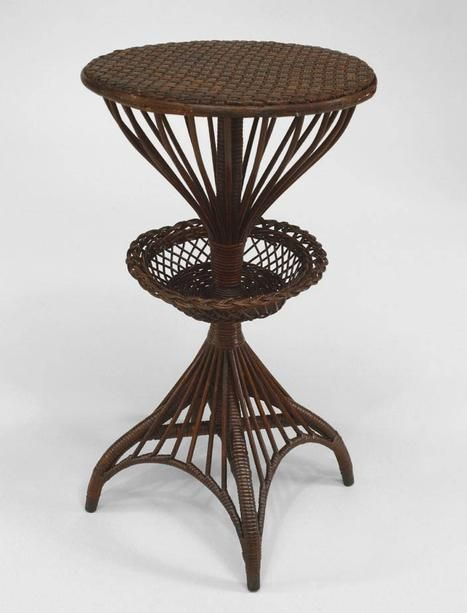 Wicker Victorian table end table natural