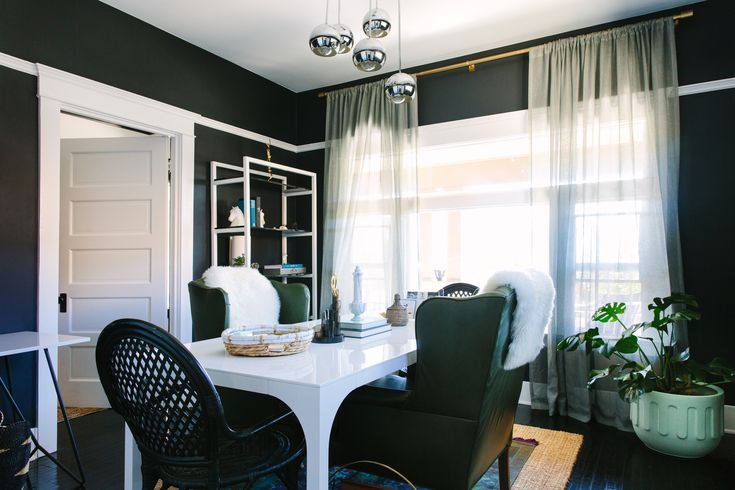 black dining room, white trim, by black lacquer design