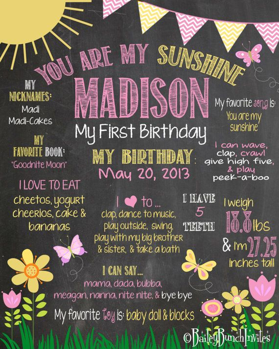 You are my Sunshine Birthday Chalkboard Poster Pink Chevron Yellow Chevron Gray Chevron First Birthday Photography Prop - Party Accessories on Etsy, $24.99