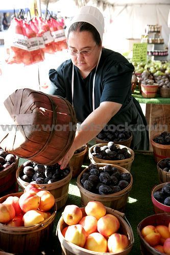 Stock photo of Indiana Shipshewana Indiana: Shipshewana Flea Market Amish Woman Produce Vendor Fruit Baskets Plum Peach - World of Stock www.worldofstock.com