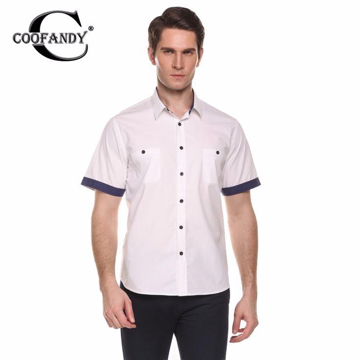 COOFANDY Hommes Chemise D'été Automne Casual Manches Courtes  Turn-down Collar Contraste Couleur Bouton-Bas Mâle Marque Blouse  chemises