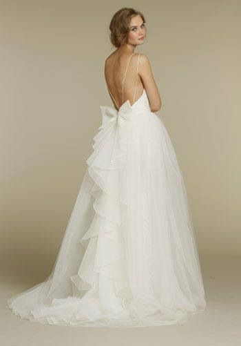 I LOVE this! I love the back! spaghetti strap open back Crystal Georgette Ballet Bodice Bridal Ball Gown Wedding Dress