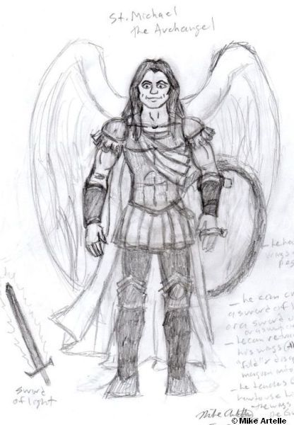 St. Michael the Archangel rough drawing, 2013. By Mikey Artelle