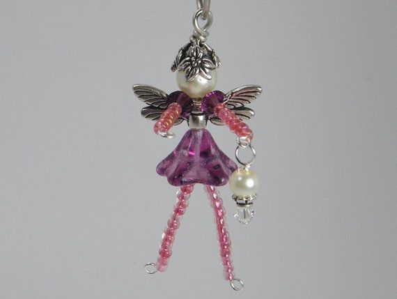 CEYLAN Flower Fairy Ornament - Beaded Fairy - Fairy Charm - Wine Bottle Decoration - Pink Faery - Purple Faerie - Zipper Pull - Accessory