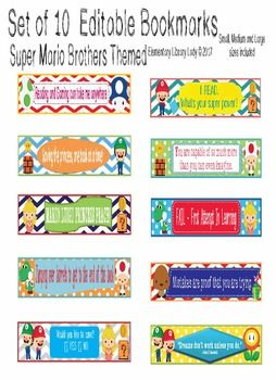 This Mario Bros and Video Game Bookmark set includes 10 cute theme bookmarks in small, medium and large. Included are the small, medium and large blank images that can be used as Shelf Markers or Desk Name Plates as a PDF file, as well as medium and large editable bookmarks as a PowerPoint file.