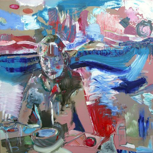 "Geoff Farnsworth, Eternity Soup, oil on panel, 36""x36"". $2900"