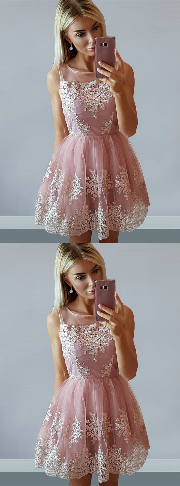 modest blush lace homecoming party dresses, short fashion prom gowns, semi formal dresses, homecoming dresses 2017