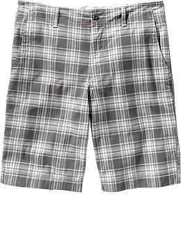 "Men's Broken-In Plaid Twill Shorts (10 1/2"") 