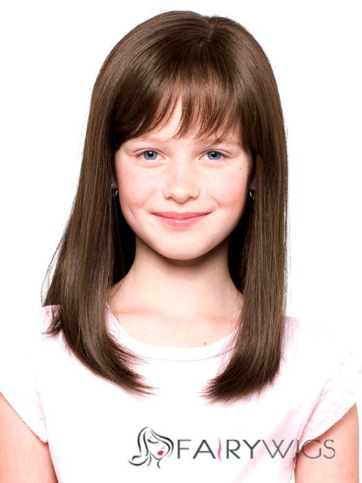 European Style Medium Brown 100% Indian Remy Hair Kids Wigs 16 Inch