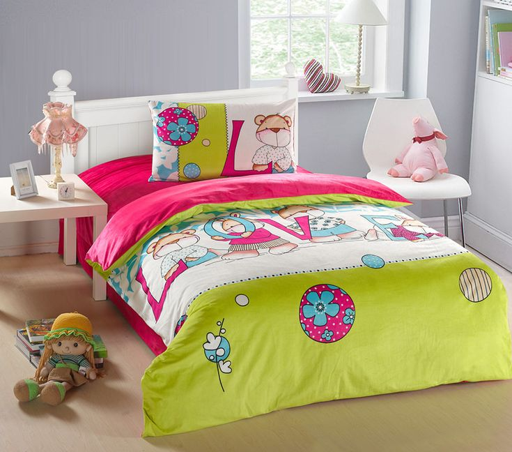 Velvet Kids Bedding Bright Pink Bears Girls Velvet Kids Bedding