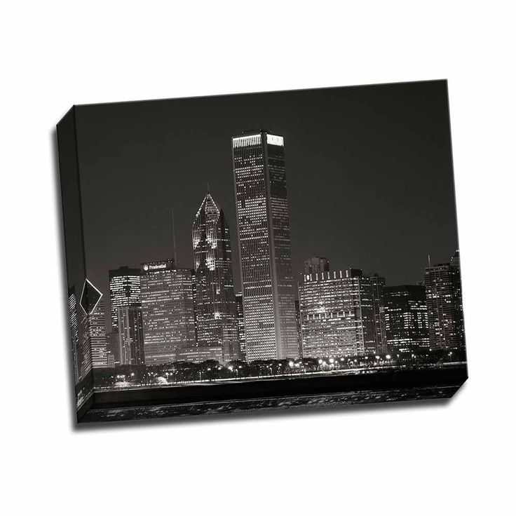 Picture It on Canvas 'Downtown Chicago II' 20-inch x 16-inch Wrapped Canvas Wall Art, Black