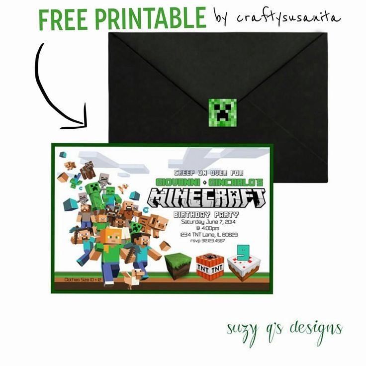 92 best Mine craft party images on Pinterest - mine craft invitation template