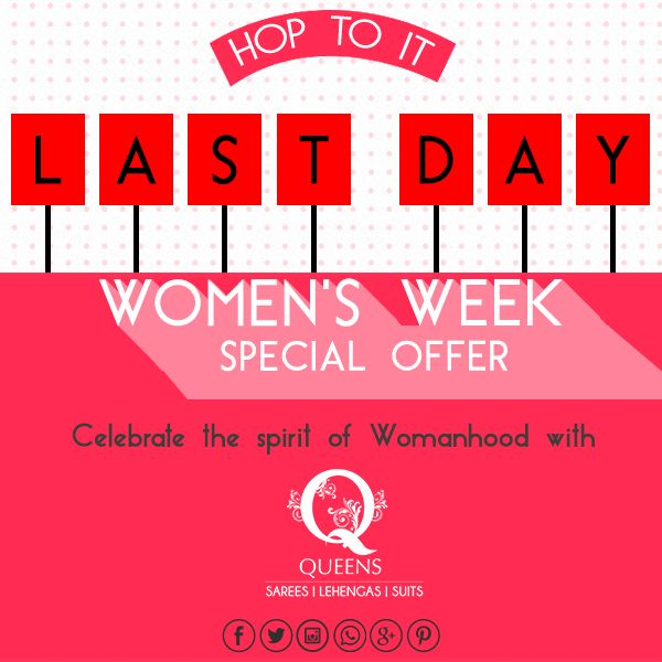Buy now or cry later! Our women's week sale ends tomorrow, make the most of it. #sale #womensweeksale #queens #QueensEmporium #salealert #march #womanwear #lehenga #designerwear