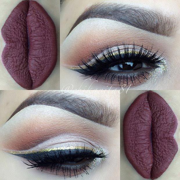 Black & Gold Glitter Eyeliner + Dark Red Matte Lips