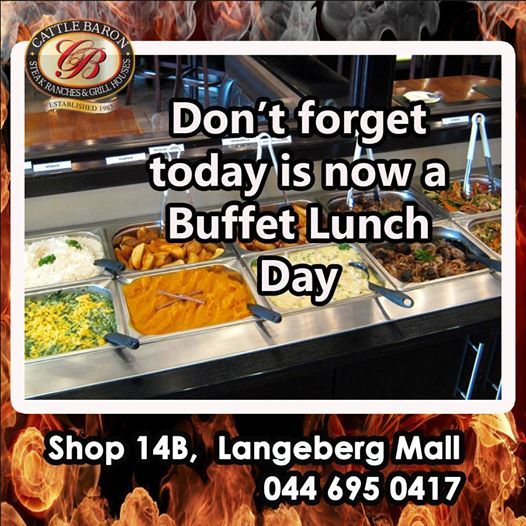 We are all still getting back into the swing of things and would you believe it is Wednesday again? Time for another of our fabulous Buffet Lunches at the Cattle Baron Mossel Bay. Service starts at 12h00 so come along and help yourself to our fine spread. #steakhouse #cuisine #buffetlunch