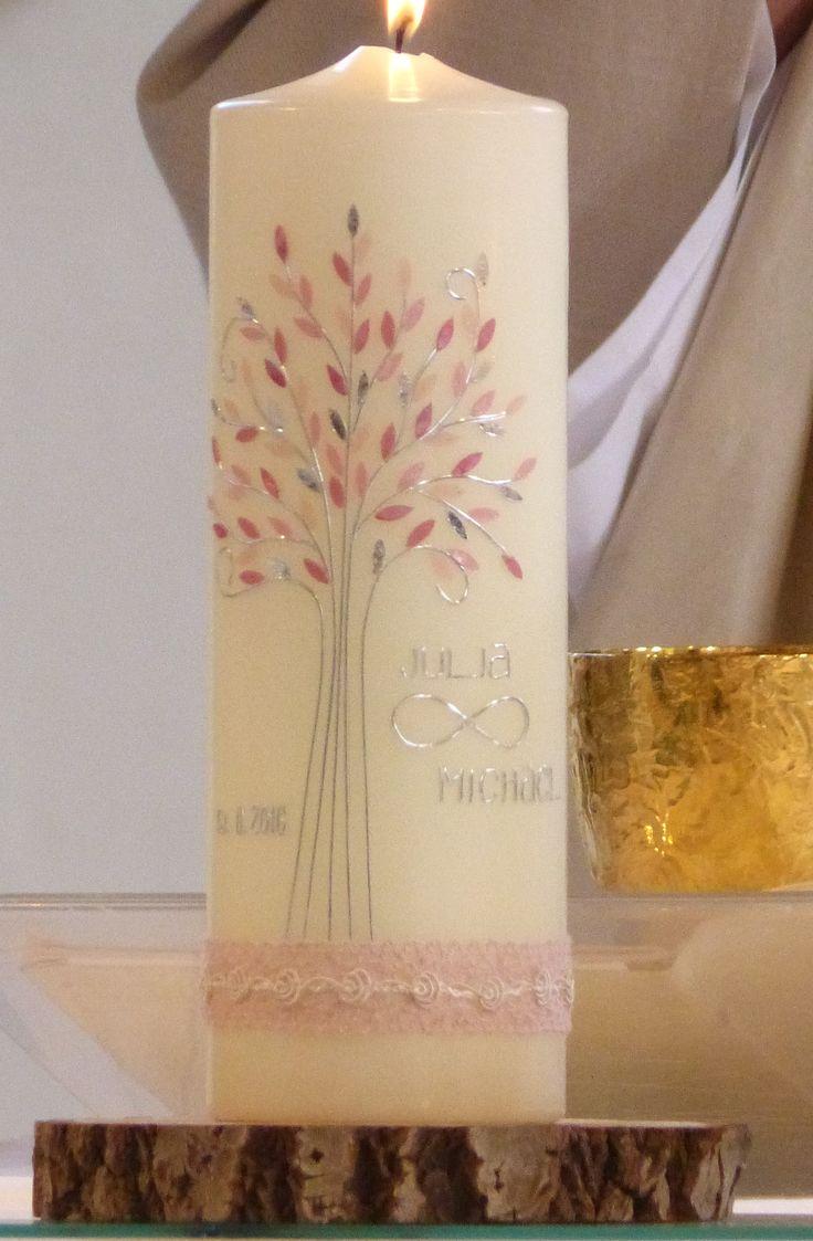 Hochzeitskerze von mac-kunst Lebensbaum, in rose und silber mit Unendlichkeitssymbol.