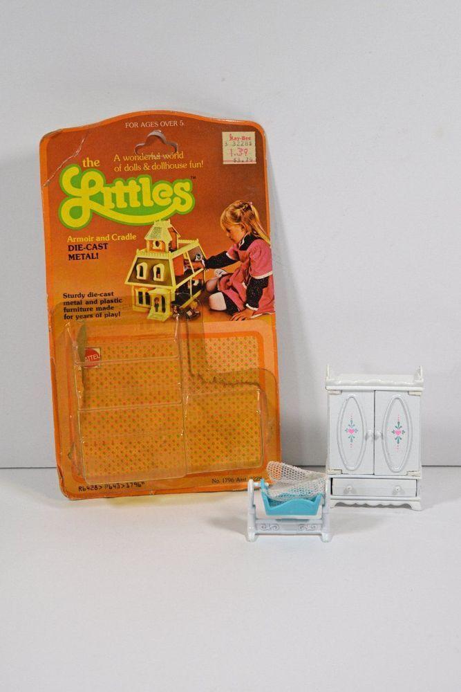 Vintage 1980 Mattel The Littles Die Cast Armoir and Cradle with Packaging #Mattel