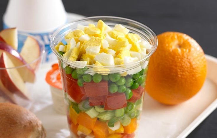 Shake Up Chopped Salad: Easy to prepare, portion, display and serve, this shake up salad starts with a hard-boiled egg and adds all of the best elements of a salad bar, combined in a handy single-serve container.