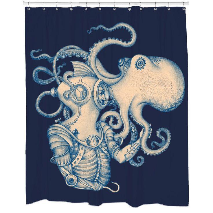 deep sea discovery octopus kraken shower curtain. Dark blue shower curtain where deep sea diver and octopus meet.