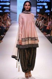 Blush embroidered kalidaar kurta with black fish scale patiala salwar