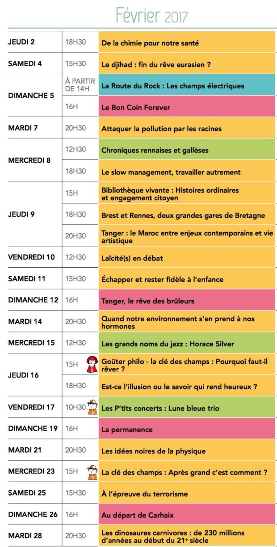 Rennes. Programme des Champs libres février 2017 JEUDI 2 FÉVRIER À 18H30 De la chimie pour notre santé avec Soizic Chevance et Franck Camerel L'amélioration de la santé humaine est l'un des premiers objectifs de la recherche scienti que. Dans ce combat, les médecins, les pharmacologues et les biologistes ne sont pas seuls. Les... https://www.unidivers.fr/rennes/rennes-programme-champs-libres-fevrier-2017-02-02/ https://www.unidivers.fr/wp-content/uploads/20