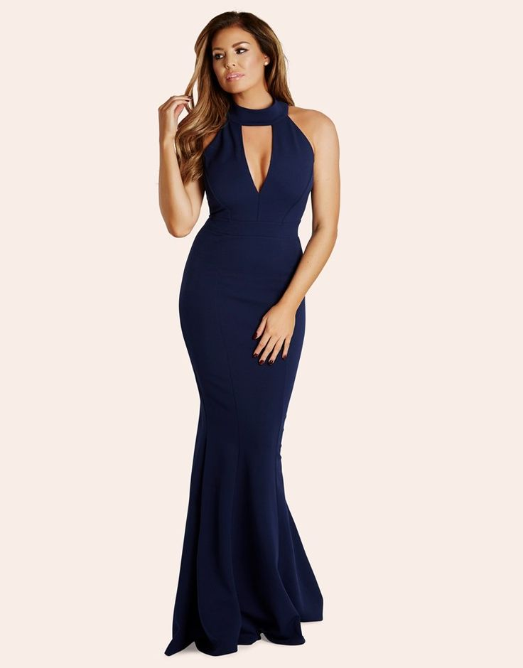 Jessica Wright Choker Collar Maxi Dress