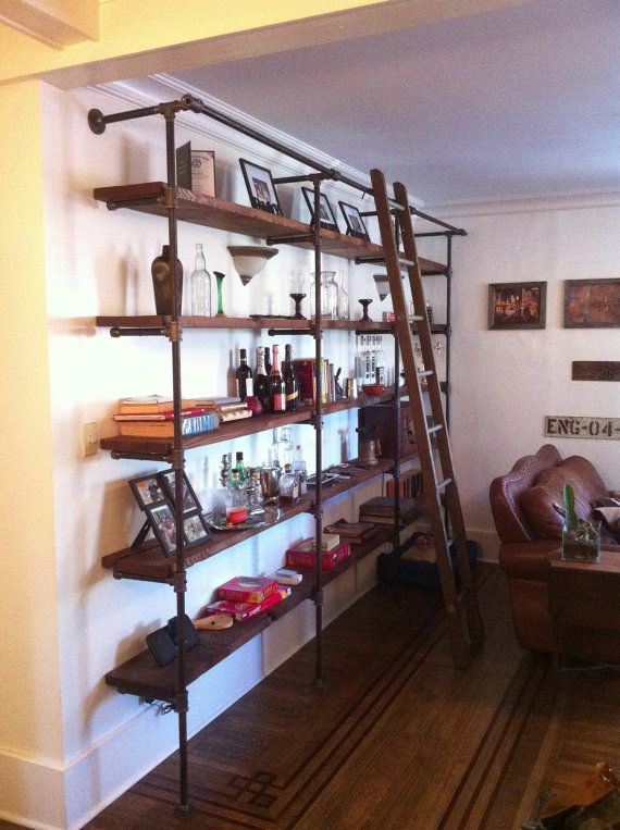 Custom Sized Industrial Pipe And Reclaimed Wood Shelving