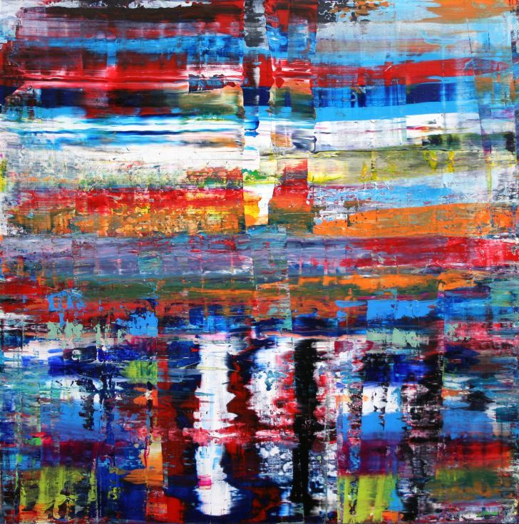 ARTFINDER: COMMONWEALTH by Andrew Watt - A LARGE SQUARE MULTICOLOURED CANVAS ART PAINTING, BIG AND FULL OF COLOUR!  The combination of colours, at first looks bold but the closer you get the more ...