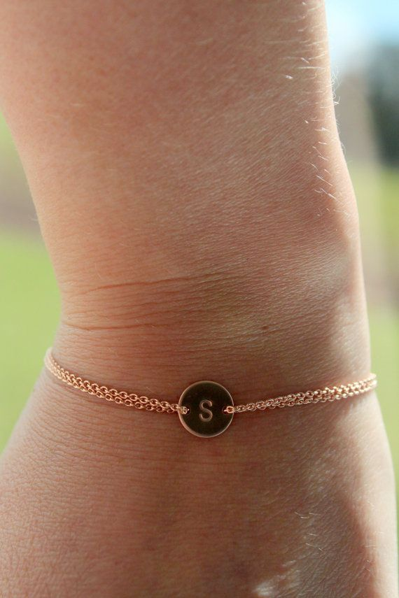$32.00 New -All Rose gold filled monogram bracelet personalized- initial bracelet, sister, mother, handstamped, pink gold