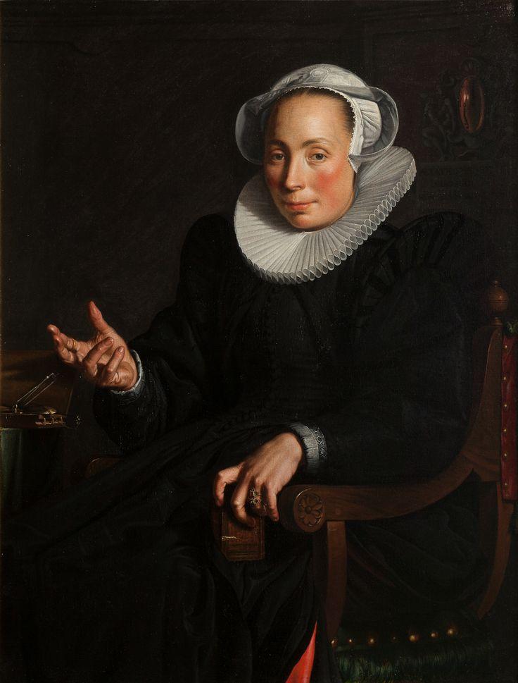 Christina Wtewael–van Halen trouwde in 1595 met Joachim Wtewael. Wtewael laat met kleine details in haar portret zien dat ze een goed huwelijk hadden. [Portret van Christina Wtewael–van Halen, 1601, Collectie Centraal Museum, Utrecht]