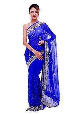 Stone Embellished Royal Blue Saree