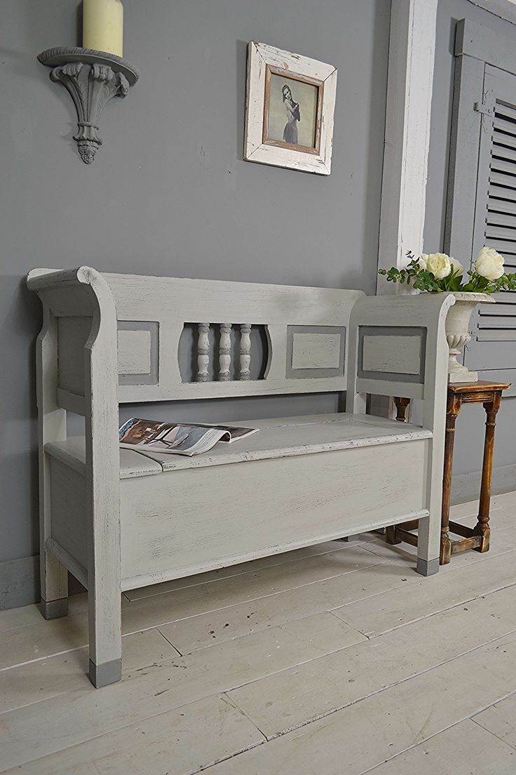 #letstrove This small storage bench is perfect for a hallway, or any room in the house! We love it's rustic charm which we've enhanced in Farrow & Ball Lamp Room Gray, with Plummett detail. We've finished with a light distress all over and a dark wax to age. https://www.thetreasuretrove.co.uk/seating/small-shabby-chic-storage-bench-seat #rustic #farrowandball #grey #shabbychic #shabbychicdecor #vintage