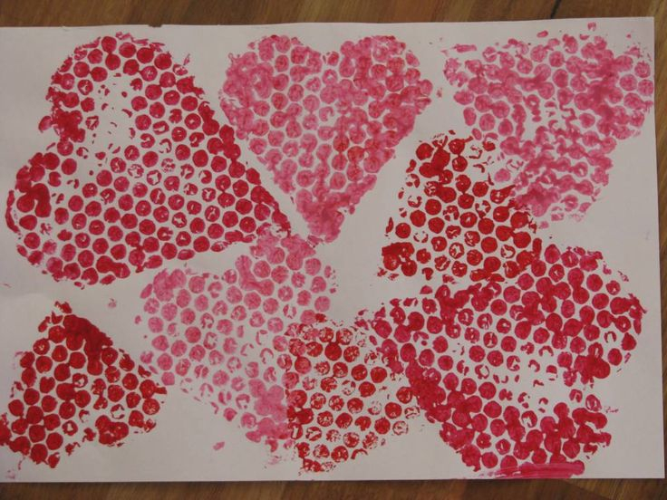 Heart Bubble Wrap Painting
