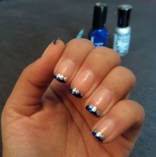 Blue French Tip Nails with Silver Dots