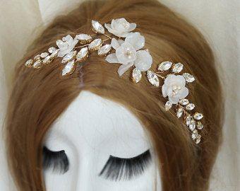 Diadema nupcial oro flor boda diadema cristal nupcial pelo accesorios boda tocados pelo nupcial oro bandas de luz