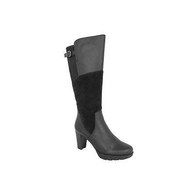 TAMARIS 1-25515-27 - Γυναικείες Μπότες Δερμάτινες με τακούνι σε μαύρο χρώμα