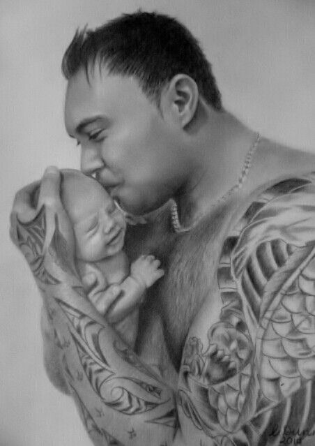 Man and baby done in Charcoal by Christine Dunn