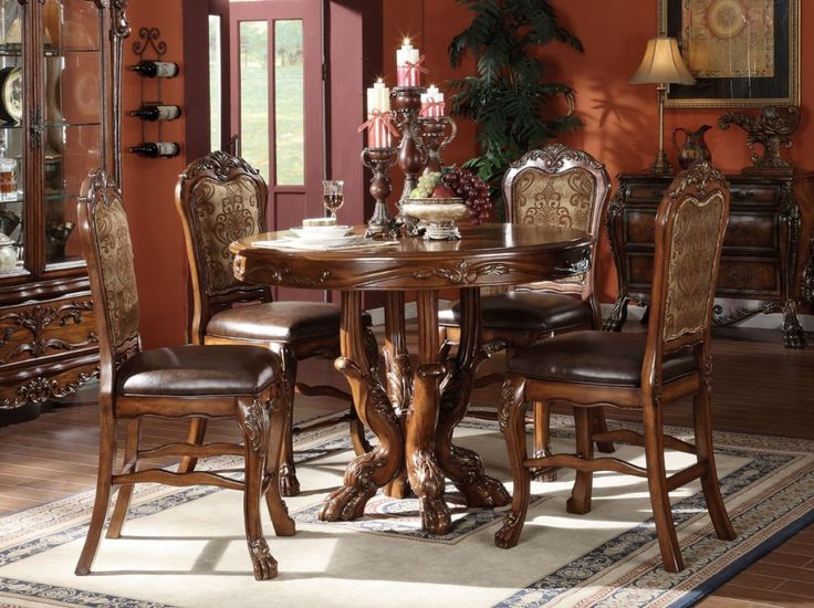 Kitchen Pleasing Counter Height Dining Table With Leather Chairs Also Lacey
