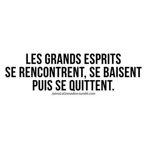 Les grands esprits se rencontrent, se baisent puis se quittent - #JaimeLaGrenadine #citation #punchline #amour #love #rupture #pqr