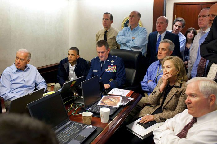 President Obama and Vice President Joe Biden, along with members of the national security team, receive an update on the mission to kill Osama bin Laden in the Situation Room of the White House on May 1, 2011. Also pictured are Secretary of State Hillary Clinton and Defense Secretary Robert Gates.