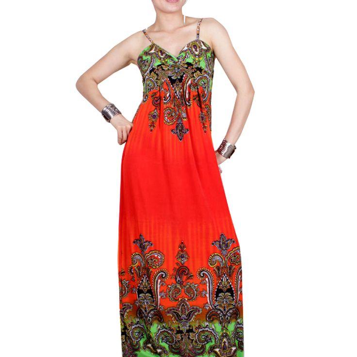 >> Click to Buy << Nice-forever Bohemian Beach sleeveless Print Ethnic trend Spaghetti Strap V-Neck Floor-Length elegant Long Dress bty003 #Affiliate