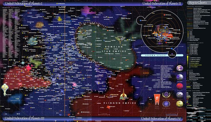 Federation of Planets IV map (Star Trek - their maps are not terribly consistent, evidently, but this one was recommended)