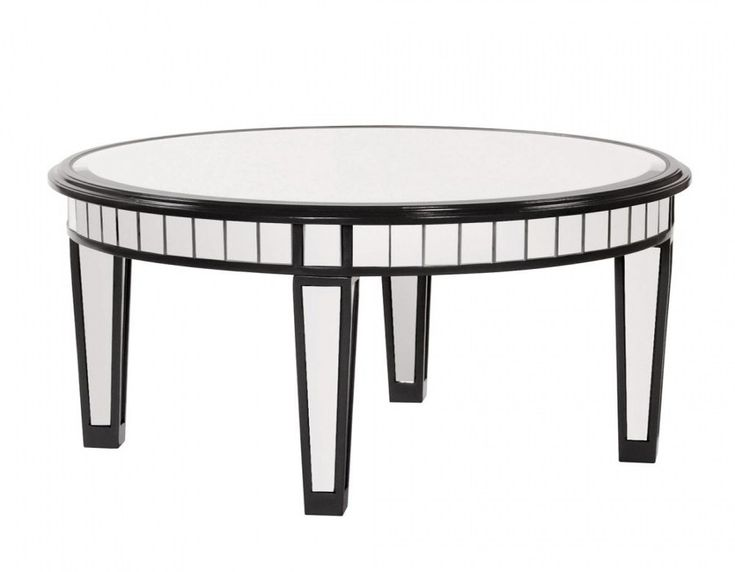 modern round mirrored coffee table with black wooden frame and in mirrored coffee table round