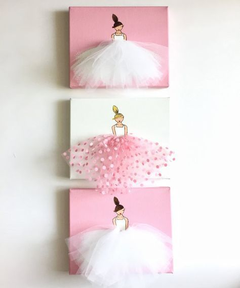 Baby Girl Nursery Decor Nursery Wall Art Kids Room Frame Girls Decor Ballet Canvas Art Pink Painting Ballerina Art (Pink Polkadot Tutu)