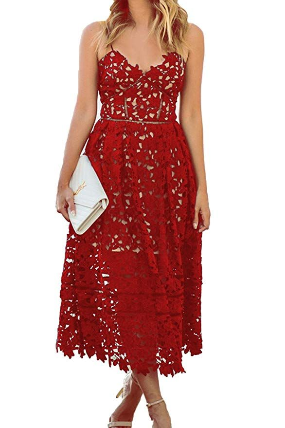 d3541806fae AlvaQ Women's Sexy V Neck Sleeveless Lace Dress at Amazon Women's Clothing  store: