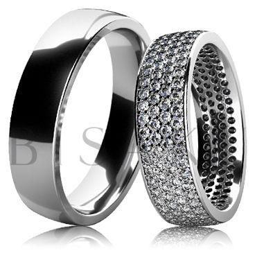 BD6-4 Unikátní snubní prsteny z bílého zlata v lesklém provedení, kdy dámský prsten je zdoben po celém obvodu kameny - každý kámen z celkového počtu 192 kusů, je ručně zasazen. Jedná se o jeden z výrobně nejnáročnějších prstenů. #bisaku #wedding #rings #engagement #svatba #snubni #prsteny #design