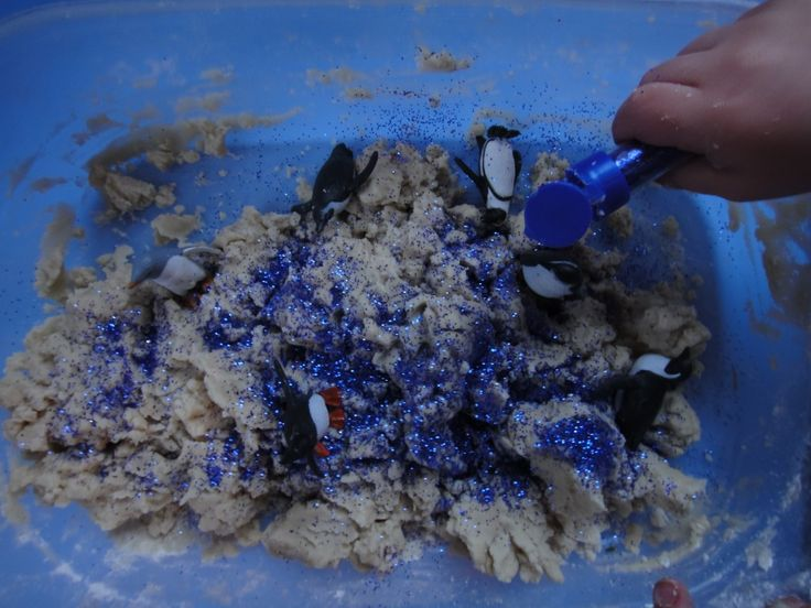 Sensory Tub For Sick Days with moon dough and Eucalyptus.