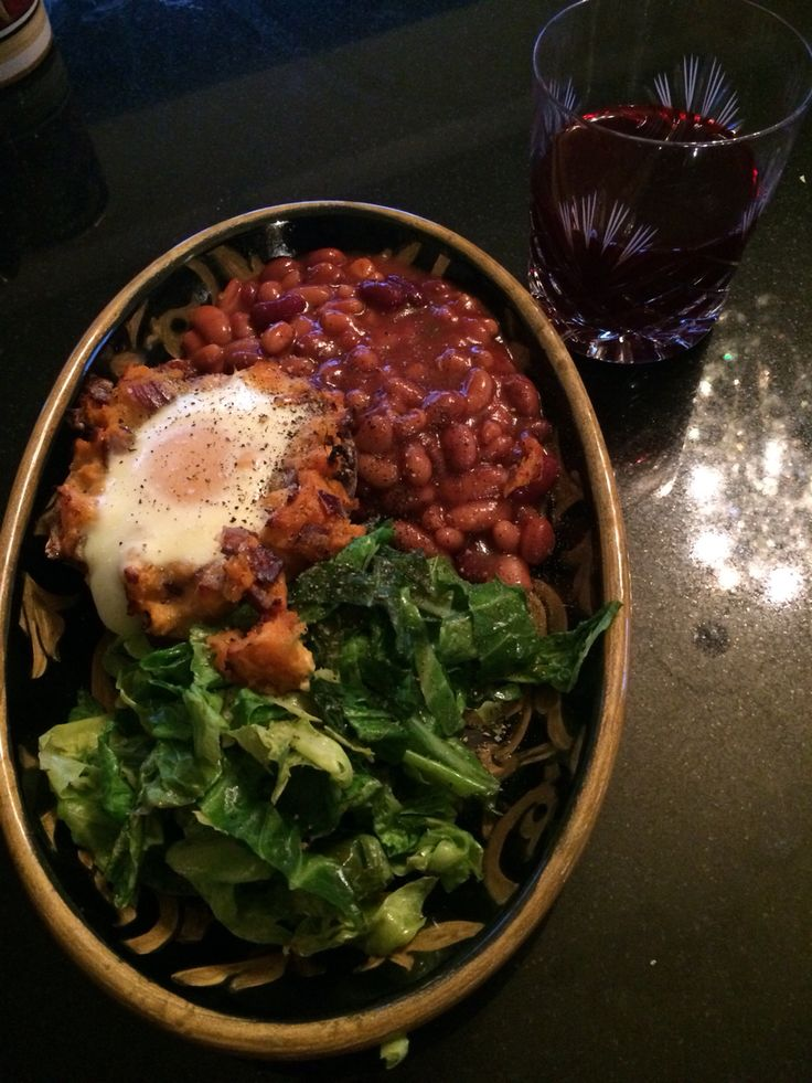 High fibre breakfast, five bean mix, wilted greens and sweet potato baked egg