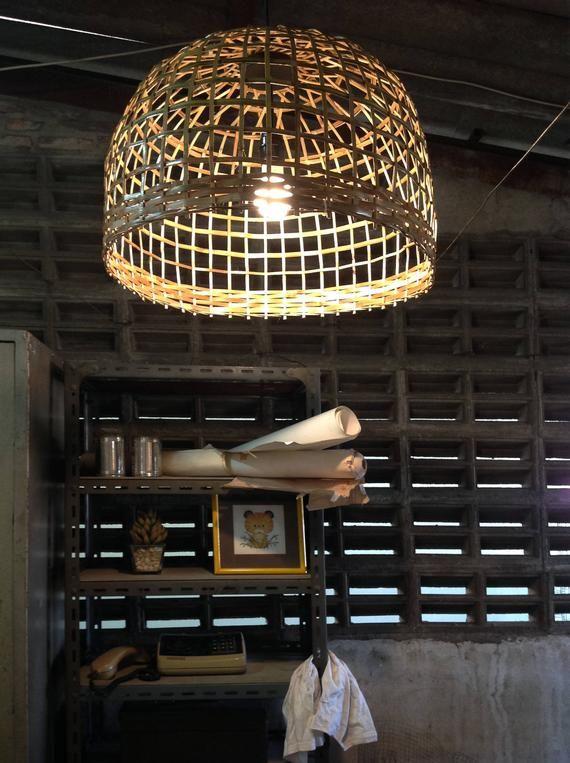 Large Dining Room Pendant Lighting Bamboo Basket Wicker Etsy Wicker Pendant Light Dining Room Pendant Pendant Light