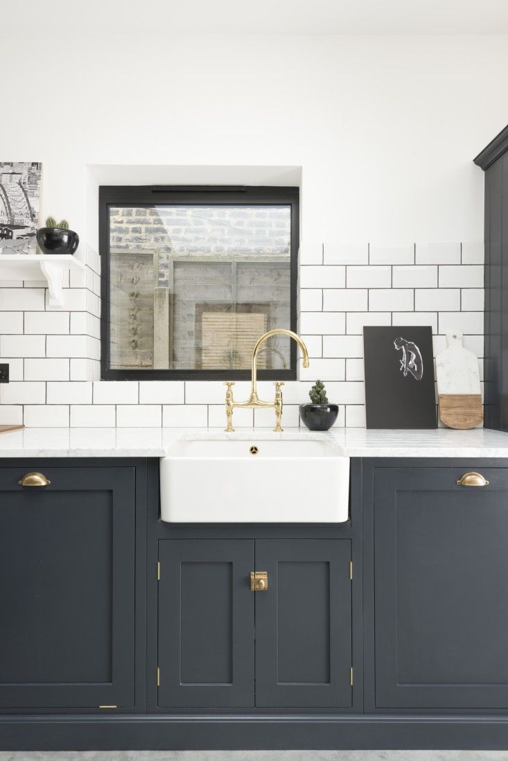 East-Dulwich-Kitchen-by-deVOL-Remodelista-3 Shaker style cabinet doors, brass pulls